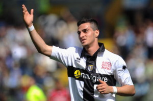 PARMA, ITALY - MAY 16:  Davide Lanzafame of Parma FC celebrates his goal during the Serie A match between Parma FC and AS Livorno Calcio at Stadio Ennio Tardini on May 16, 2010 in Parma, Italy.  (Photo by Valerio Pennicino/Getty Images)