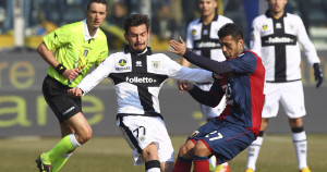 during the Serie A match between Parma FC and Genoa CFC at Stadio Ennio Tardini on February 10, 2013 in Parma, Italy.